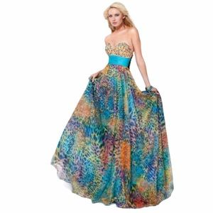 Jovani Colorful Animal Print Tulle Ball Gown 10